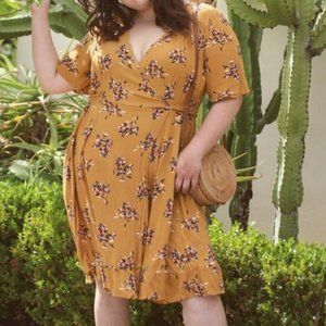 Woman Within Yellow Floral Wrap Dress Size 20W